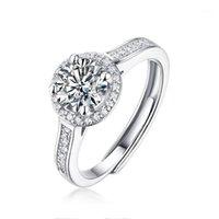 خواتم الزفاف للنساء 1ct moissanite الدائري 925 فضة الزفاف الماس الدائري قابل للتعديل غرامة مجوهرات 1