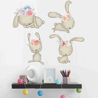 Feliz Pascua Conejo Etiquetas de pared Conejitos Vinilantes de la pared Huevos de Pascua Decoración de la pared de la pared del arte de los niños
