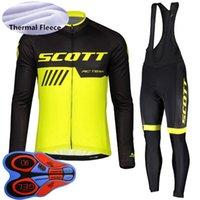 Scott Takımı erkek Bisiklet Kış Termal Polar Jersey Önlüğü Pantolon Set MTB Bisiklet Giyim Bisiklet Üniforma Açık Sportwear S20102705