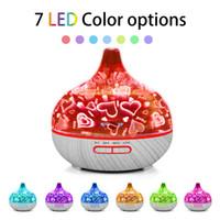 400 ml Elektrikli Nemlendirici 3D Cam Hava Nemlendirici Aroma Uçucu Yağ Difüzör Ultrasonik 7 Renkler Ev Için LED Işık Mist Maker GGA3834-2