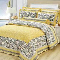Set di biancheria da letto 3pcs Handmade Cotton trapunta Set Style American Style Trapunte Pedselfread Patchwork Floral Stampato rivestito rivestito