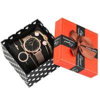 Relógios de bracelete feminino conjunto Rose Gold Quartz relógios analógicos para senhoras pulseira de aço inoxidável para mulher 201204
