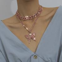 Le donne collane hanno ghiacciato le catene di collegamento cubano catene a farfalla pendente di cristallo strass animale hip hop gioielli oro rosa bianco k pistola nero GD1133