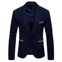 V-образным вырезом с длинным рукавом Мужская свинчик Blazer Мода Однонародный Кнопка Сплошные Цветовые Мужские Костюмы Куртка Весна Мужская одежда