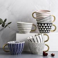 Tasses de tasse en céramique peinte à la main créative pour tasses à café avec gold handgip TeaCup Petit déjeuner Cuisine Cuisine Vaisselle