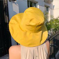 حافة واسعة القبعات قبعة المرأة الشاطئ الأزياء المتضخم السيدات الصيف 2021 uv حماية طوي الشمس الظل كاب sunhat