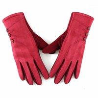 خمسة أصابع قفازات الشتاء السيدات الجلد المدبوغ شاشة تعمل باللمس الأزياء الدافئة = زر الديكور يندبروف الدراجات B741