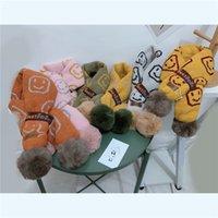 Bufanda infantil otoño bebé invierno babero cálido coreano sonriente cara dibujos animados cruz cuello bola de lana tejer