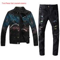 Novo estilo quente Famoso Brand new jeans dos homens negros conjuntos outono inverno clássico pintado à mão graffiti slim denim jaqueta + furo patch esticar jea
