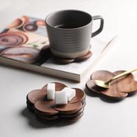 Tischdekoration Schwarz Walnuss Untersetzer Büro Kaffee Isolierende Massivholz Kreative Blütenblatt Kissen Tasse Holz Isolierende Untersetzer T3I51602