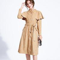 2020 여성 트렌치 코트 캐주얼 싱글 브레스트 레트로 스탠드 칼라 최대 슬림 프릴 패션 코트 패션 새시 Office Outwear1