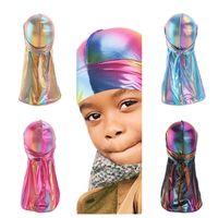 Premium Silky Wave Cap Designer Bambini Holographic Durag Laser Doo Rag Ragazzo Cappelli Pirate Hat Biker Party Beach Caps Head Wrap Visor G12207