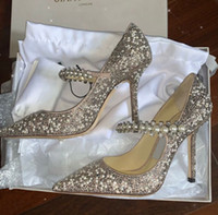 Mükemmel Gelinlik Gelin Ayakkabı Baily Mary Jane Kristal Inci Kayışı Ile Pompalar Bayan Yüksek Topuklu Seksi Noktası Burun Ünlü Bayan Pompaları