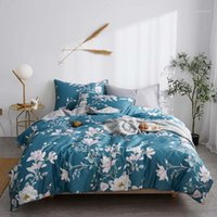Svetanya Bianco Flowers Blue Leaves Cover Duvet Set Lusso Biancheria da letto di cotone egiziano Set di biancheria da letto matrimoniale Set di biancheria da letto