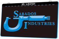 LD3101 Sabados Industries Werkzeuge 3D-Gravur-LED-Lichtschild 9 Farben Großhandel Einzelhandel Freies Design