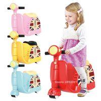 Passeio para crianças equitação crianças crianças viagem bagagem menino garota pode sentar-se para carro brinquedo arrastar caixa