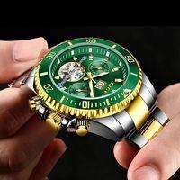 Saatı Lige Mekanik Erkekler Saatler Otomatik Paslanmaz Çelik Su Geçirmez Tarih Hafta Yeşil Moda Klasik Bilek Relogio Masculino