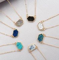 Amerika und Europa Beliebte Frauen Schmuck Handamde Gold / Silberkette 7 Design Naturstein Anhänger Halskette 0790
