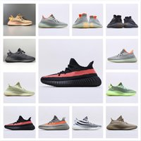 Avec chaussettes gratuites Yecheil Kanye West Running Chaussures Green Hommes Femmes V2 A3 Nuage Blanc Black Statique Noir Sneaker Reflective Synth Synth Citrin 36-48