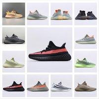 Con calzini gratuiti Yecheil Kanye West Scarpe da corsa Verde Uomini Donne V2 A3 Nube Bianco Nero Statico Statico Pieno Riflettente Sneaker Synth Citrin 36-48