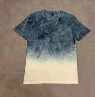 2020SS 유럽 프랑스 봄과 여름 새로운 그라데이션 컬러 편지 인쇄 패션 고품질 야생 캐주얼 탑 와이드 버전 남성 티셔츠