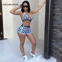 Anjamanor Plaid Sexy 2 Stück Set Frauen Crop Top Und Shorts Strand Outfits 2020 Sommer Club Wear Checkerboard Short Sets D35-I93 Y200701