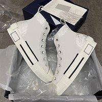 Designer B23 oblíqua sneaker para mulheres homens low top imprimir sapatos de couro técnico luz de lona altas treinadores com caixa