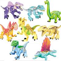 8 adet / takım Renkli Jurassic Dünya Dinozor Brutal Raptor Minifig Rakamlar Mini Yapı Taşları Çocuk Oyuncakları Xmas Hediye
