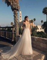 Praia vestido de noiva sexy cinta moderna boho ver através de pescoço profundo v neck tule uma linha vestidos de casamento beads country breads vestido nupcial