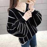 긴 랜턴 슬리브 니트 스웨터 여성 V 넥 대조 색상 느슨한 풀오버 가을 겨울 따뜻한 스웨터