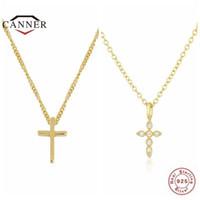 Canner Ins Style Fashion Simple Cross Real 925 Стерлинговое серебро 925 Стерлинговое Серебра для Женщин Choker Ожерелья Цепочка Изящные Ювелирные Изделия