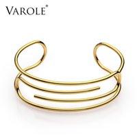 Bracelet de manchette en papier Varole MANCHETTE GOLD COULEUR DE COULEUR DE BRACLET BAINE POUR FEMMES Bracelets Bracelets Pultsiras