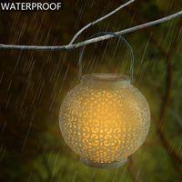 F8 chapéu de palha lâmpada lâmpada contas solar luz de controle automático decoração jardim ao ar livre jardim impermeável lâmpada de ferro retrô