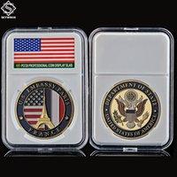 Ambasciata di Dipartimento di Stati Uniti d'America Parigi Francia Tower Artigianato Souvenir Challenge Gold Collegabile Copy Coin w / PCCB Box