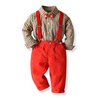 크리스마스 소년은 활 녹색 격자 무늬 셔츠 + 붉은 서스펜더 바지 2 개 세트 어린이 크리스마스 파티 옷을 빨간색 의상 봄 아이 격자 무늬 A5106