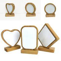DIY frames foto imagem sublimação em branco bambu redondo retângulo fronteira larga frame de madeira removível presentes home magnética ornamentos 13bd g2
