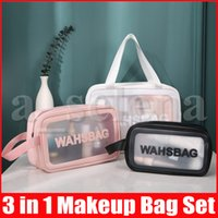 Moda 3pcs / set Borse per il trucco delle donne Borse cosmetiche trasparenti per la borsa della cerniera della borsa della borsa della borsa della borsa della grande capacità