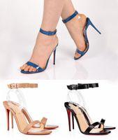 여름철 발 뒤꿈치 샌들, 붉은 바닥 샌들 발 뒤꿈치 신발 조나티나 데님 PVC 샌들 특허 가죽 트랜스프, 웨딩 드레스