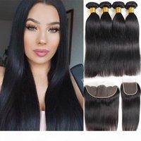 10A натуральные черные бразильские волосы девственницы прямые 4 пучка с кружевной закрытием бразильцы человеческие пакеты волос с фронтальным