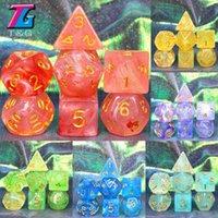 Gambing Funny PolyHedral Dice 11 Couleurs pour DND Game D4 D6 D8 D10 D12 D20 Set Cadeau Jouet RPG Noël