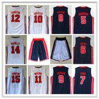 Retro 1992 Dream Jersey Robinson Ewing Bird Pippen Drexler Malone Stockton Johnson Barkely Michael Basketball Jerseys Classic