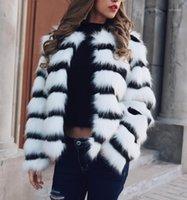Nuevos productos Invierno Nuevo imitación de piel de piel de gran tamaño Abrigo de damas suelto Cuello redondo Corto Color mezclado corto1