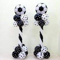 1 conjunto 18inch folha de alumínio futebol balão coluna preta branco látex balão futebol tema festa de festa de aniversário do menino