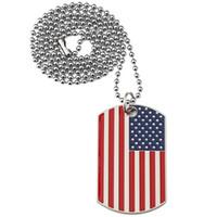 Yeni Altın Kaplama Paslanmaz Çelik Askeri Ordu Tag Trendy ABD Sembol Amerikan Bayrağı Kolye Kolye Erkekler / Kadınlar Takı için Ahf3397