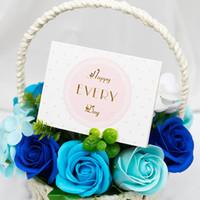Creative Bronzing Biglietti Greeting Biglietti San Valentino Giorno Bocciolo di fiori Negozio di Natale Regalo di compleanno Grazie Benedizione Card Personalizzazione VTKY2170