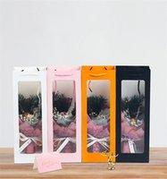 واضح أكياس الورق الصلبة نافذة واضح ورقة حقيبة بيضاء للنبيذ زهرة هدية التعبئة حزب مهرجان هدية حزمة