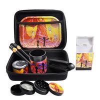 Venta al por mayor 8 en 1 Accesorios para fumar Kit Seco Herb Semillas Grinder Caja de almacenamiento Tabaco Stash Caja Rodillo Metal Rolling Bandeja Caja de tanques