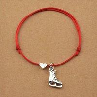 Personnalité Skats de glace Pendentif Charme Coeur Réglable Noir Cordon rouge Bracelets pour Femmes Hommes Patinage Chaussures Bijoux Cadeaux