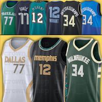 NCAA Morant 12 JA 34 Giannis 77 Luka Antetokounmpo Doncic Men City 2021 Nova Jersey de basquete costurado