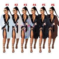 Женщины нижнее белье сексуальные сонные ночной ночной кухня цельный пижамы с длинным рукавом ночная рубашка S-2XL 6 цветов буквы печати ночные трубки вечер 4258